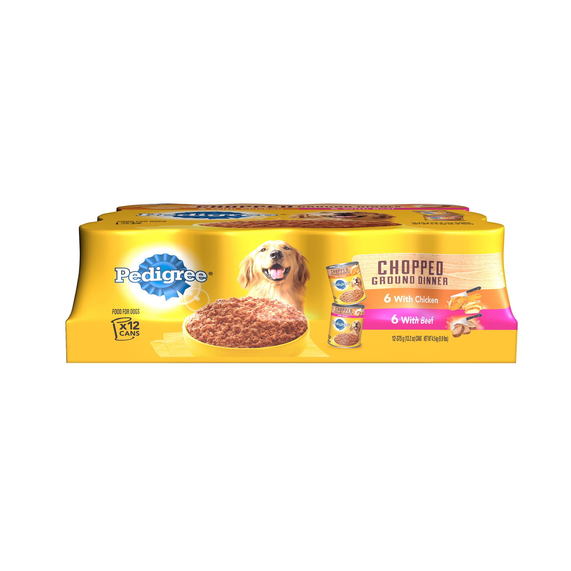 PEDIGREE Meaty Ground Dinner Multipack Chicken and Beef Dog Food 13.2 Ounces (12 Count)