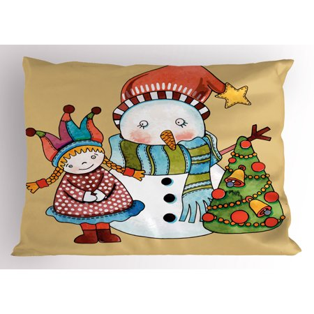 Watercolor Snowman - Christmas Pillow Sham Cute Little Toy Girl Snowman and Xmas Tree in Watercolors Happy New Year Theme, Decorative Standard Size Printed Pillowcase, 26 X 20 Inches, Multicolor, by Ambesonne