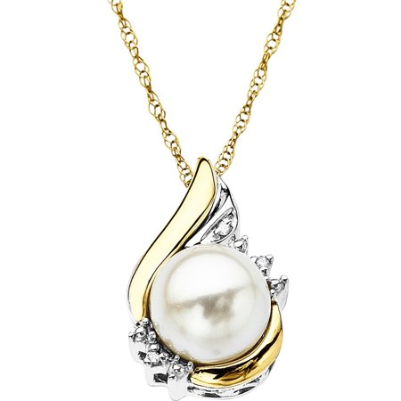 Sterling Silver with 10kt Yellow Gold Pearl and Diamond Accent Pendant (Pearl June Birthstone Pendant)