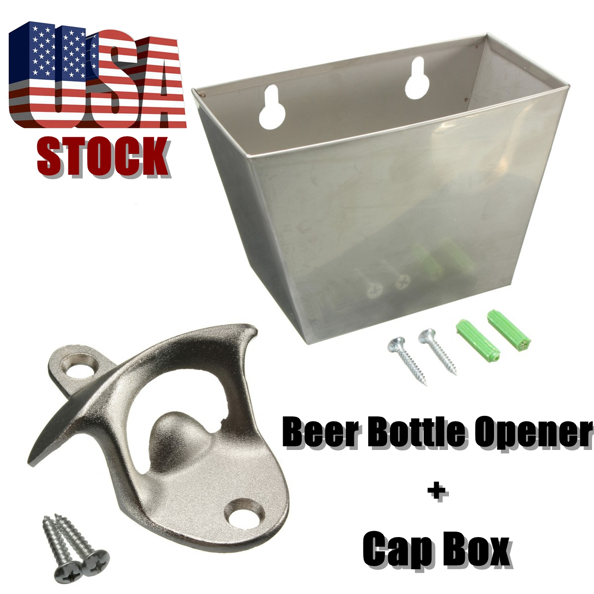 1 Stainless Steel Bottle Opener & 1 Cap Catcher Box Wall Mount Kitchen Bar Beer Coke Wine Bottle Cap Opener Tool Anti-rust w/ Screws