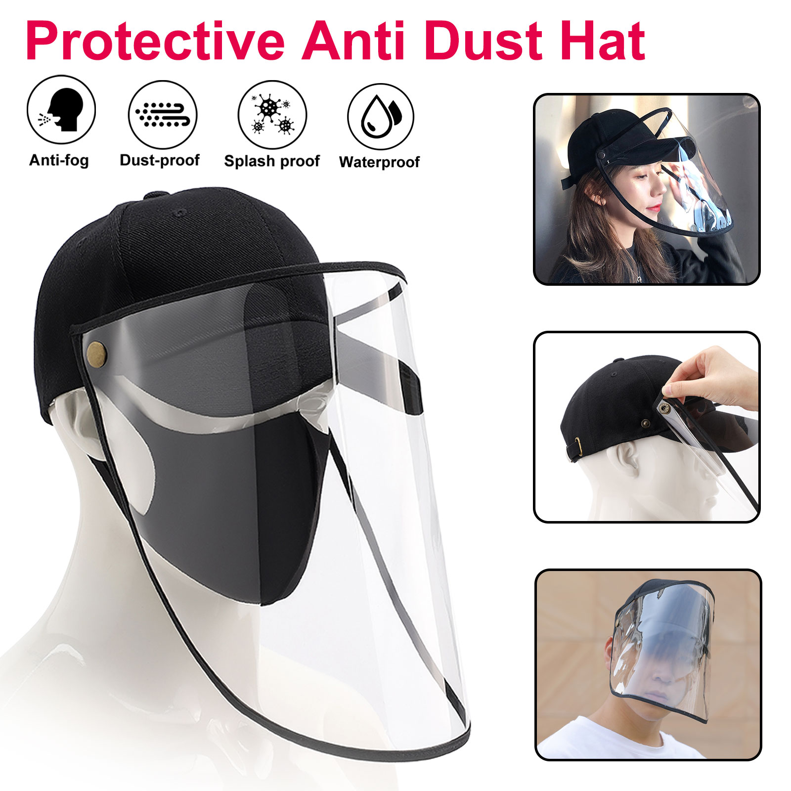 Outdoor Unisex Anti Fog Dustproof Plastic Safety Shield Face Cover Protectors