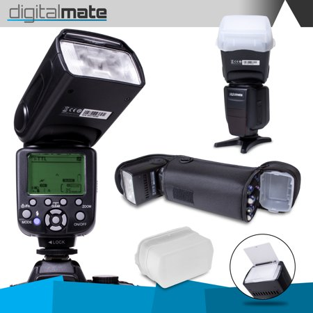 DigitalMate DM680EX E-TTL SpeedLight 18-180mm Power Zoom Flash, Bounce, Swivel, LCD Display and Case for Canon 80D 77D 70D 60D 60Da 50D 7D 6D 5D 5DS 1DS T7i T7s T7 T6s T6i T6 T5i T5 T4i T3i T3 SL2