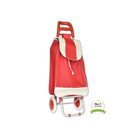 Folding Shopping Cart Push Trolley Lightweight Dolly for Groceries & Laundry New Design - Thick Waterproof Material