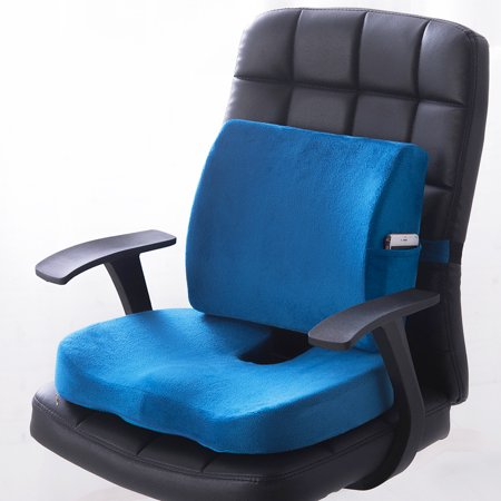 Premium Memory Foam Seat Cushion Lumbar Back Support Orthoped Home Car Office Chair Seat Pad Mat Pain/Stress Relief Seat Back Diner