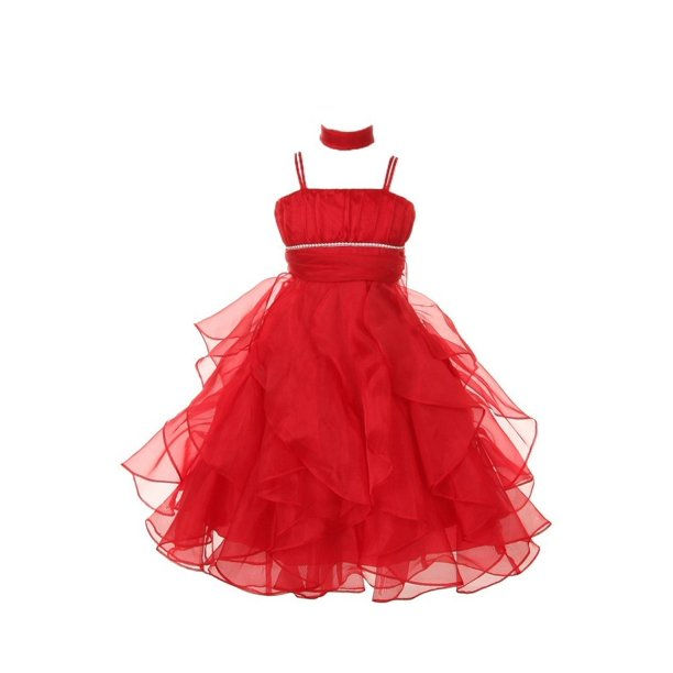 Chic Baby Little Girls Red Organza Ruffles Special Occasion Dress 4-6
