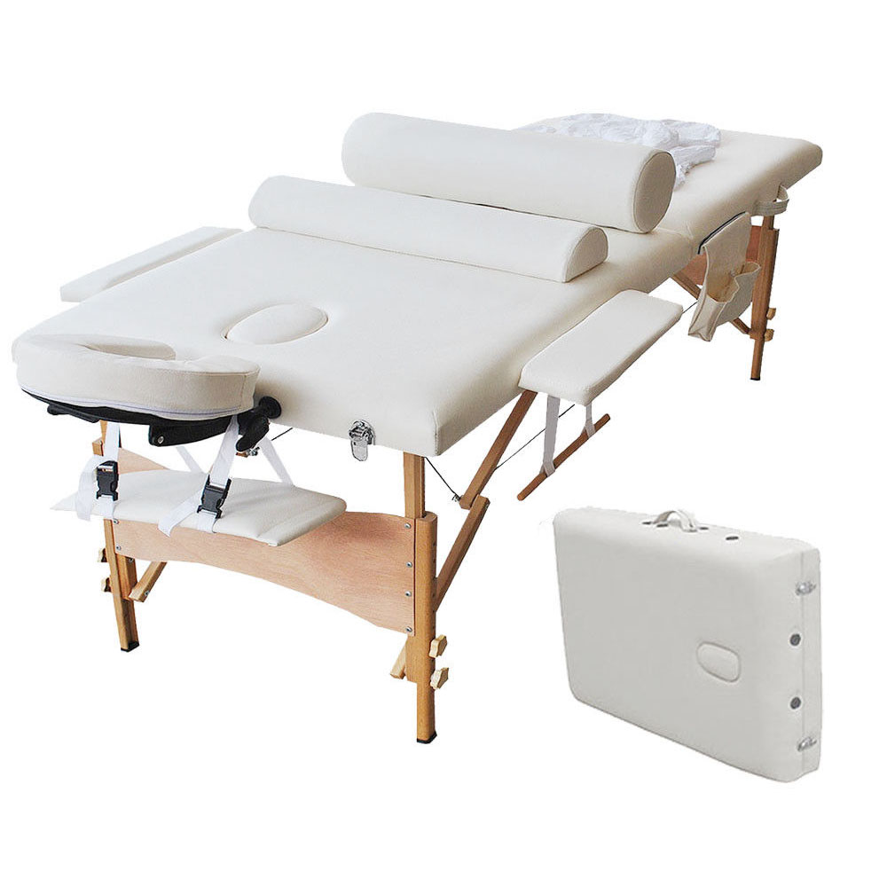 """Zimtown 84"""" Portable Massage Table Set, Professional All-Inclusive Folding Massage Bed, with 2 Bolster Pillows, Cradle Cover, Sheet, Hanger and Adjustable Headrest for Facial SPA and Tattoo"""