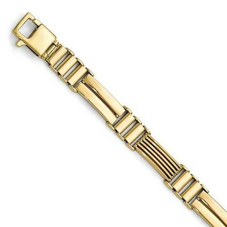Brushed Mens Link Bracelet - Leslie's 14k Polished Brushed Link Mens Bracelet