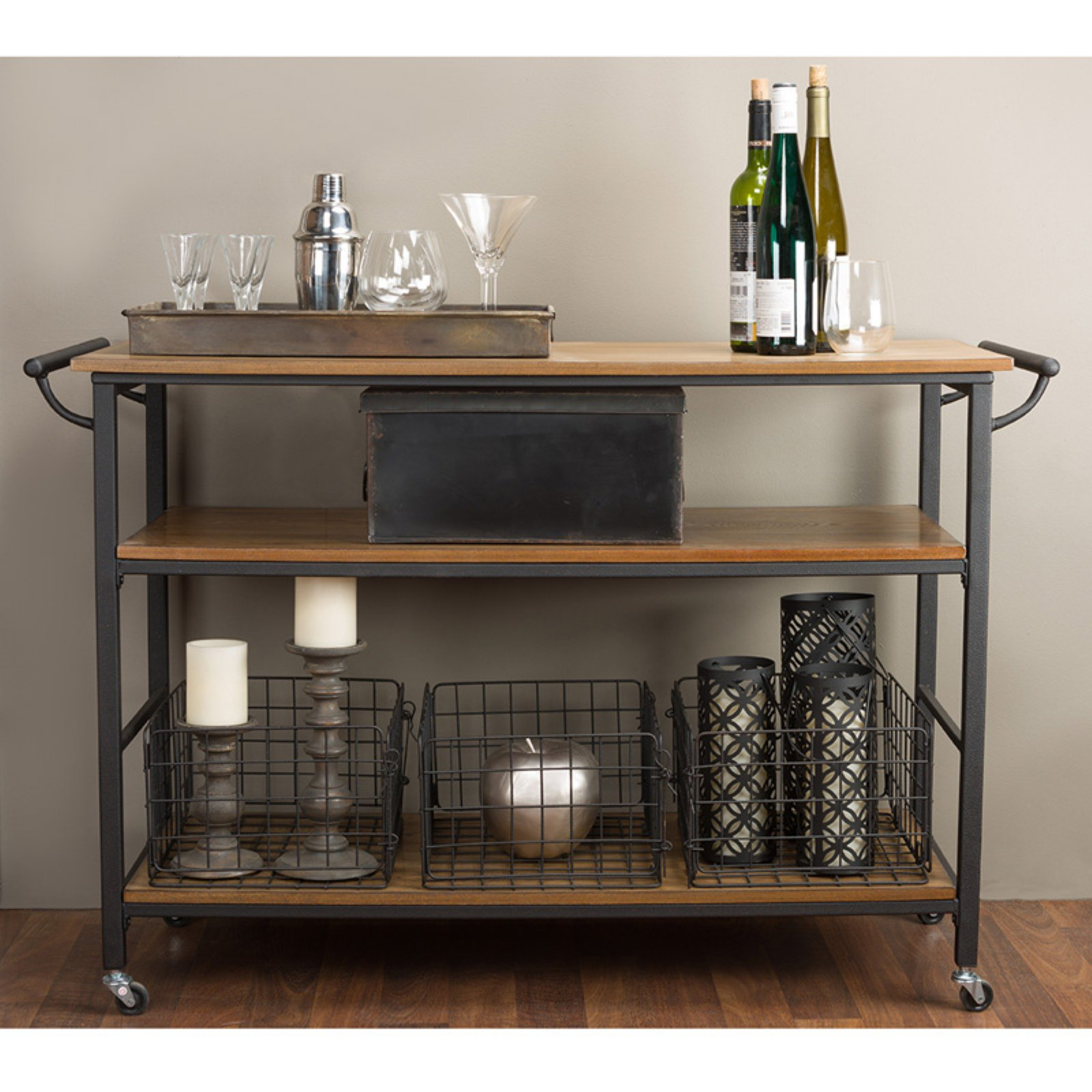 Lancashire Brown Wood and Metal Kitchen Cart by Wholesale Interiors