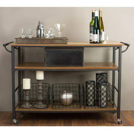 Lancashire Brown Wood and Metal Kitchen Cart