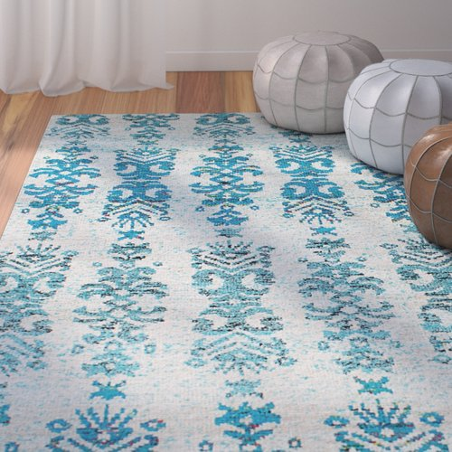 Bungalow Rose Dennet Hand-Knotted Silk Cream/Turquoise Ar...
