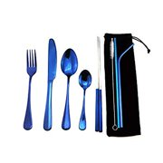 Blue Reusable Utensils with Case, Healthy & Eco-Friendly 8 Pieces Portable Stainless Steel Flatware Tableware Dinnerware Set, Portable Travel Camping Cutlery Knife Fork Spoon Straws Set