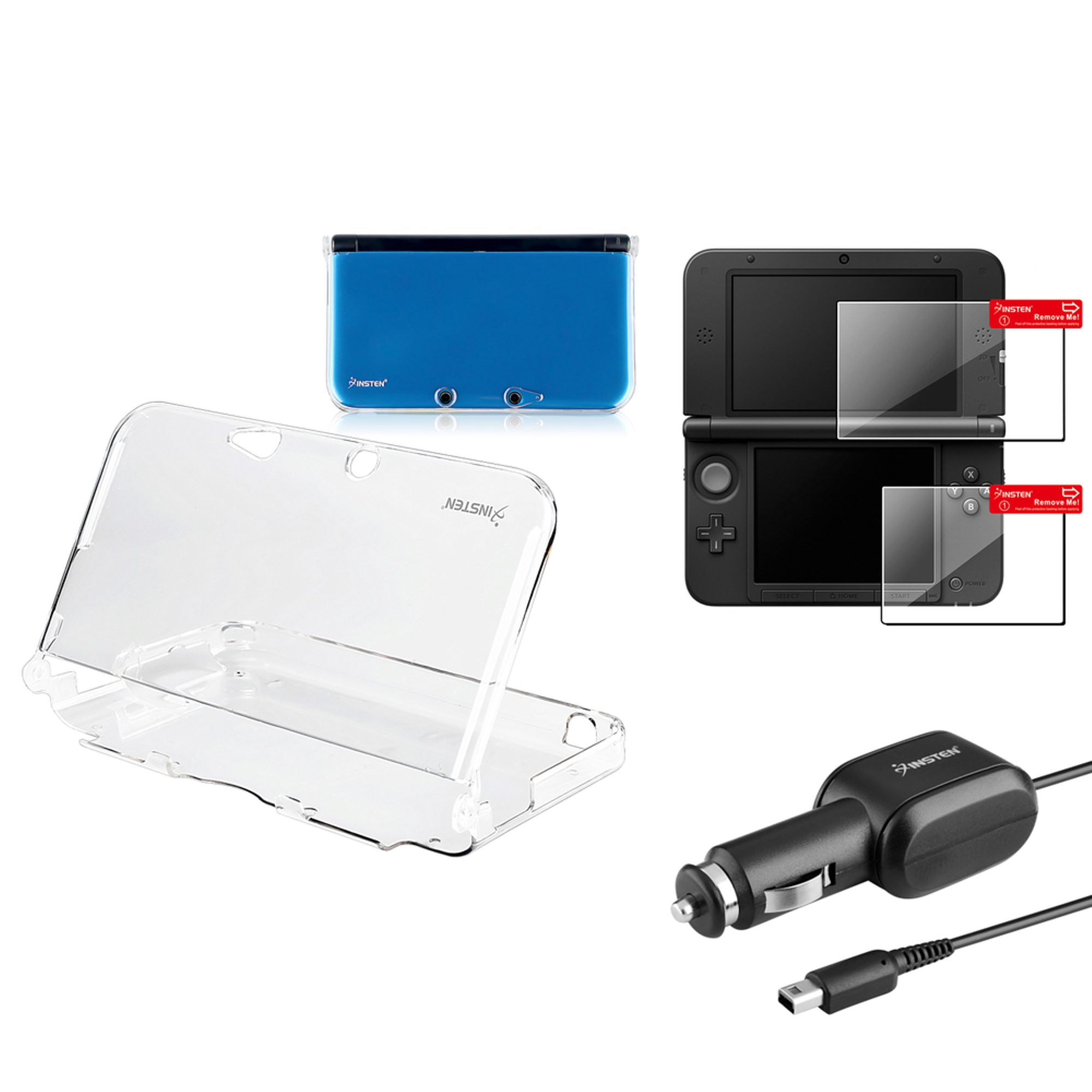 Insten Nintendo 3DS XL Car Charger + Clear Crystal Skin Case + 2-LCD Screen Protector