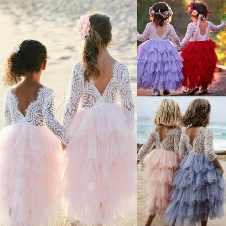 Toddler Kid Baby Girl Lace Tulle Backless Dresses Party Pageant Sundress Clothes