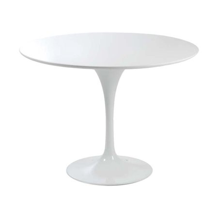 eurostyle astrid round pedestal dining table in white