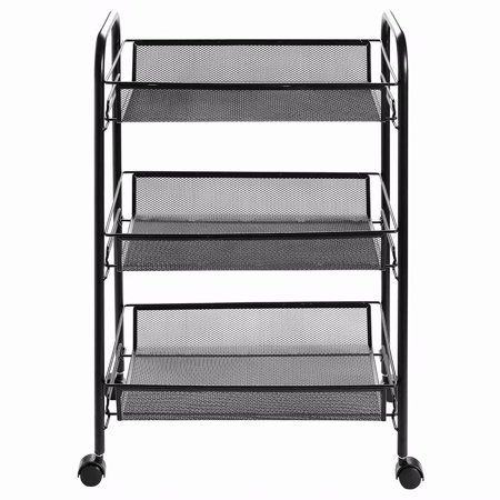 3 Tier Storage Rack Trolley Cart With Hook Home Kitchen Organizer Utility Baskets, Black ()