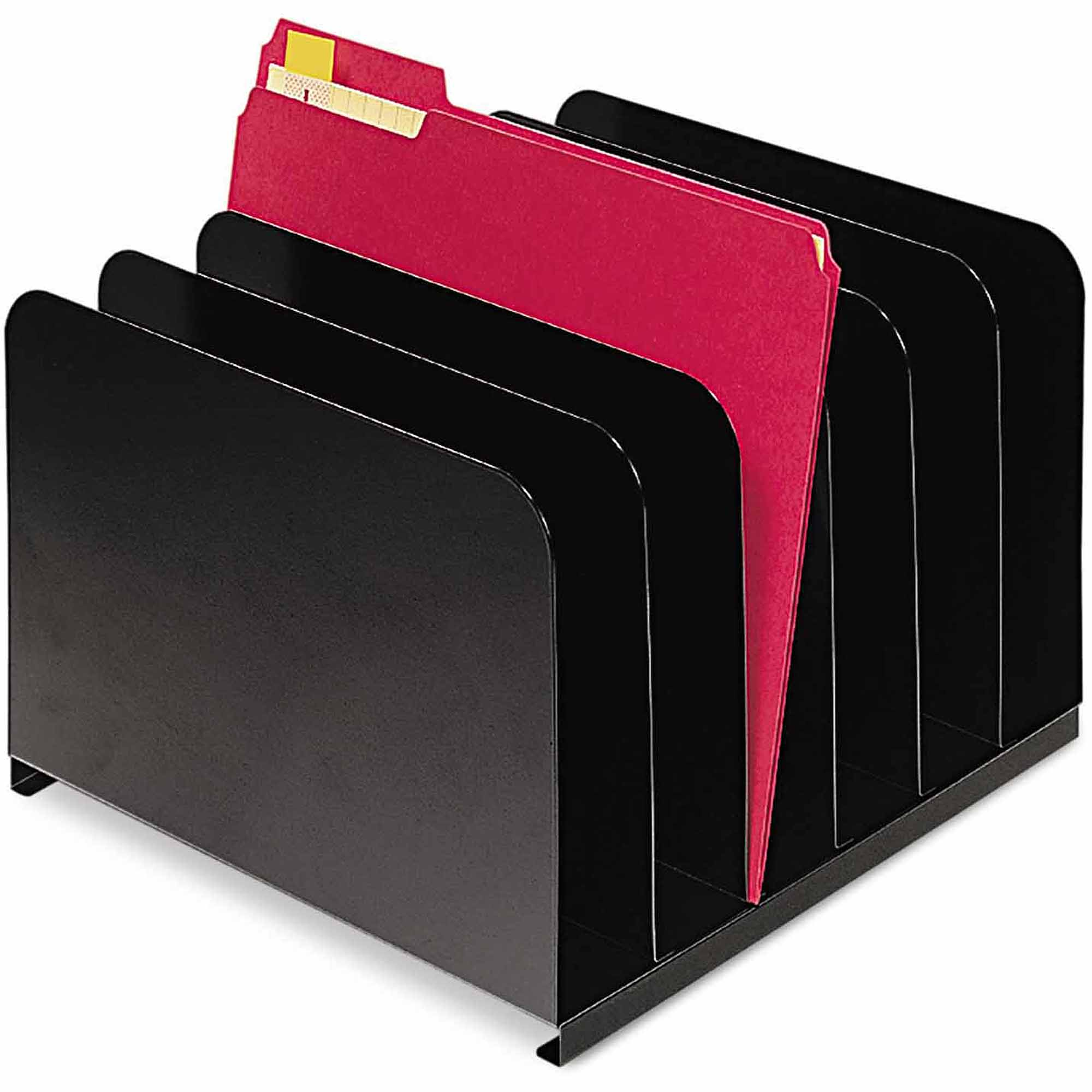 "SteelMaster Desktop Vertical Organizer, 6 Sections, Steel, 12"" x 11"" x 8-1/8"", Black"