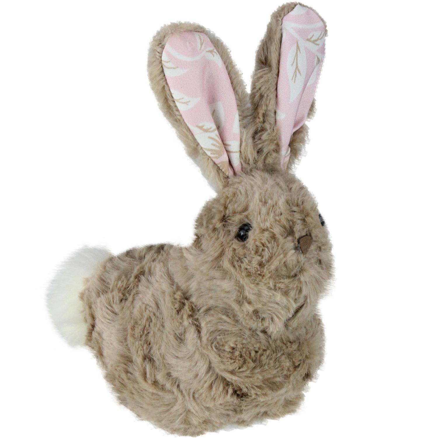 """6"""" Plush Tawny Brown and Pink Floral Rabbit Easter Spring Figure"""