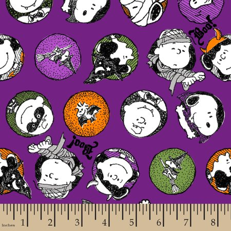 Peanuts Halloween Trick Or Treat, Purple, 100 Percent Cotton, 43/44