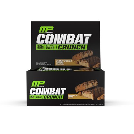 MusclePharm Combat Crunch Protein Bar, Chocolate Peanut Butter Cup, 20g Protein, 12