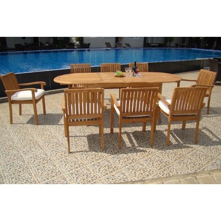 seater 7 pc 94 oval table and 6 napa stacking arm chairs outdoor