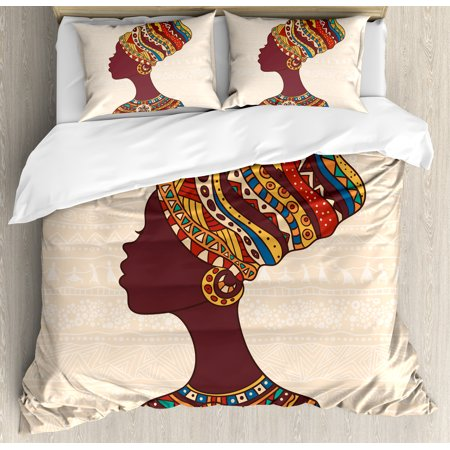 - Tribal Decor Queen Size Duvet Cover Set, African Woman in Traditional Ethnic Fashion Dress Portrait Glamour Graphic, Decorative 3 Piece Bedding Set with 2 Pillow Shams, Cream Brown, by Ambesonne