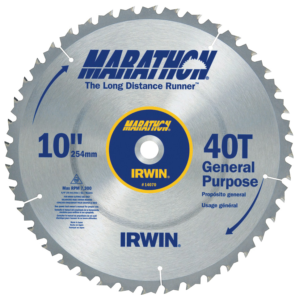"Irwin Marathon 14070 10"" 40T Marathon® Miter & Table Saw Blades"