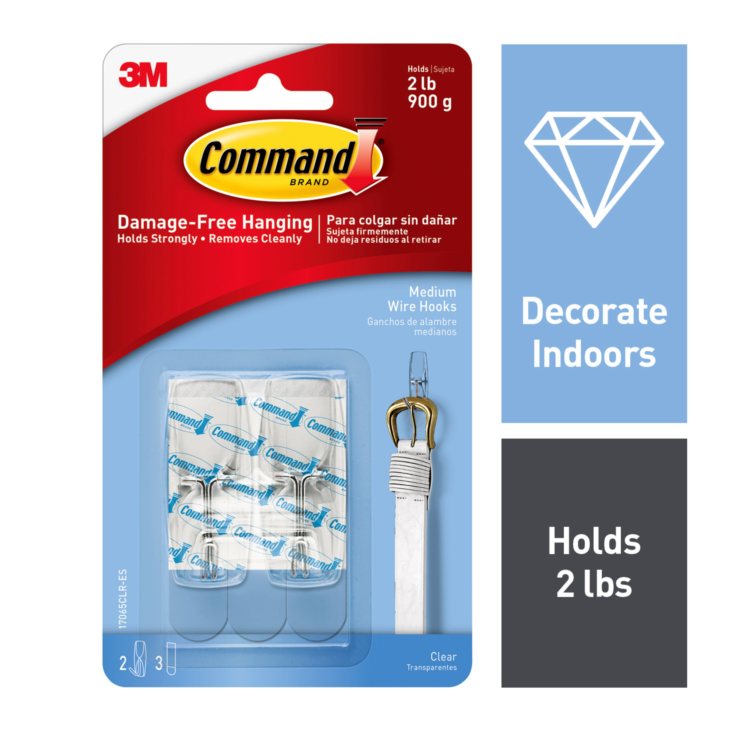 Command Wire Toggle Hook, Clear, Medium, 2 Hooks, 3 Strips/Pack