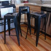 AmeriHome Loft Black Metal Bar Stool 4 Piece by Buffalo Corp