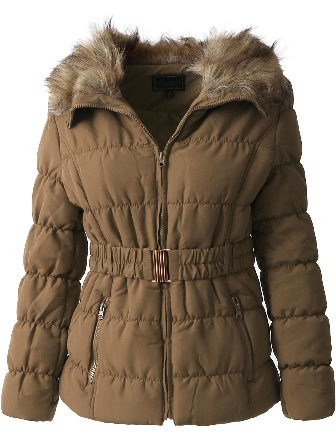EC Womens FUR LINED COAT Warm Insulated Faux Fur Quilted Puffer Parka Jacket With Belt... by