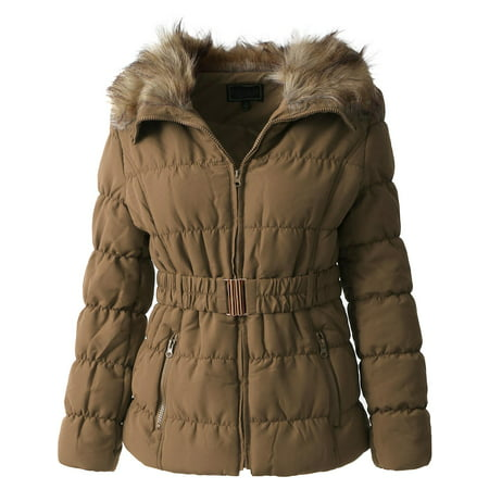 Womens Fur Lined Coat Belted Jacket Parka Quilted Faux Fur Insulated Warm Puffer