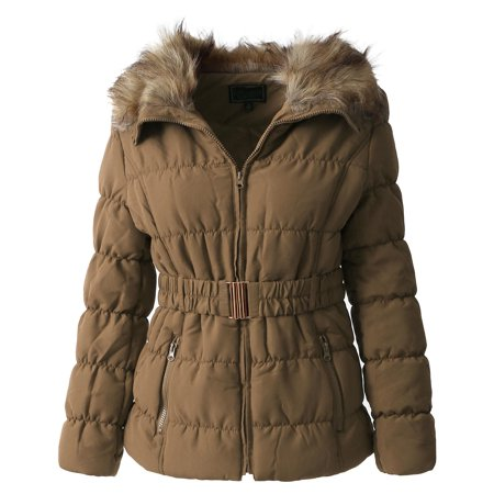 Womens Fur Lined Coat Belted Jacket Parka Quilted Faux Fur Insulated Warm Puffer Outerwear ()