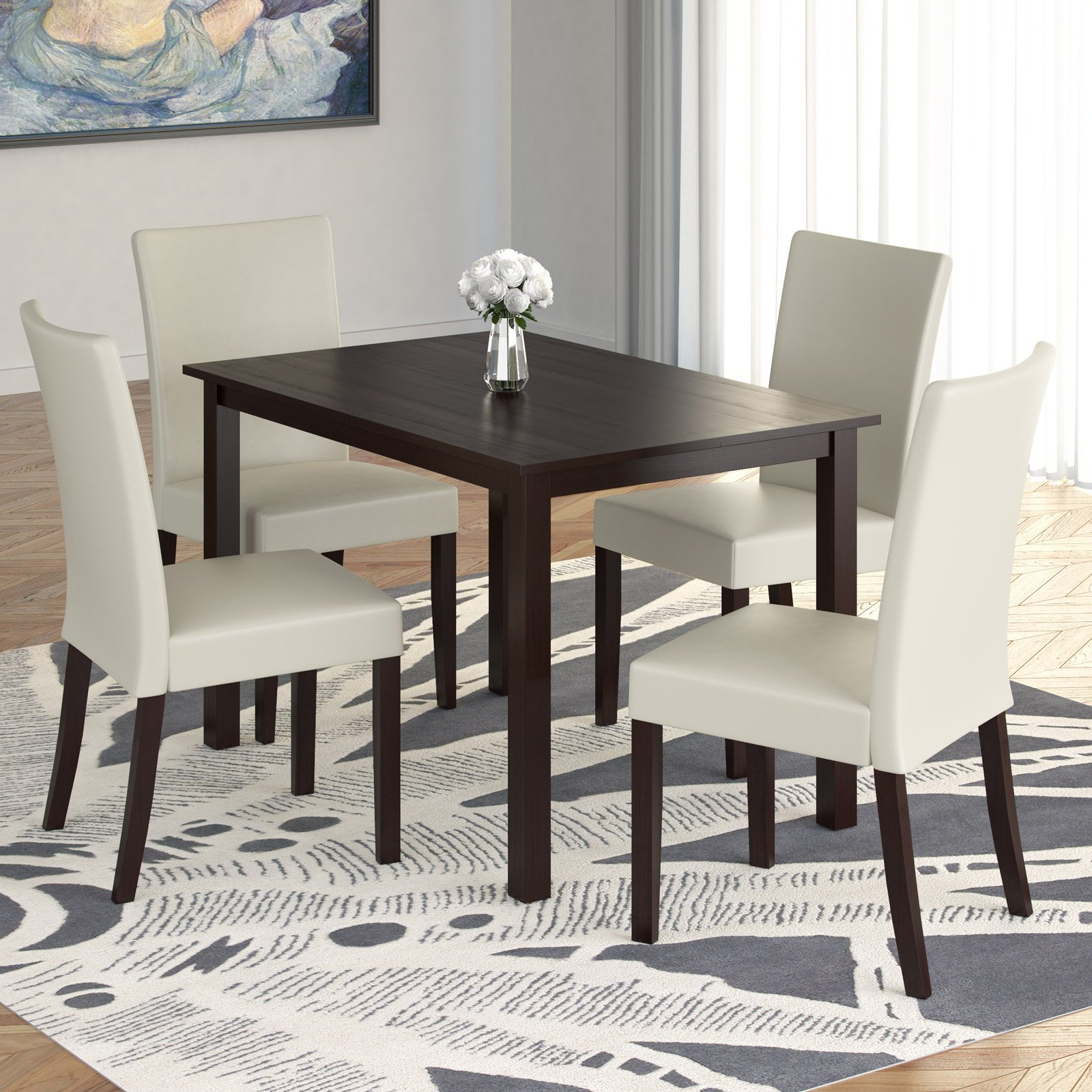 Atwood 5-Piece Dining Set with Cream Leatherette Seats