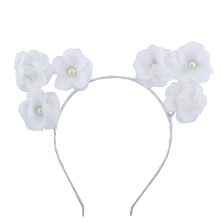 Lux accessories white pearl flower cat ears headband flower lux accessories white pearl flower cat ears headband flower headbands for girls mightylinksfo