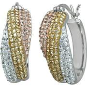 Swarovski Element Sterling Silver Tri-Color Hoop Earrings