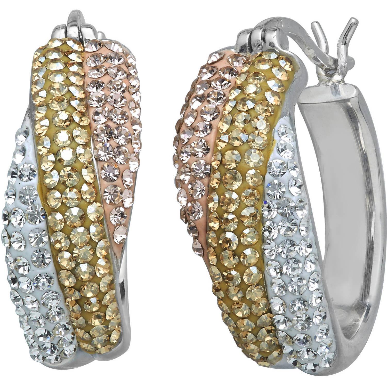Luminesse Swarovski Element Sterling Silver Tri-Color Hoop Earrings