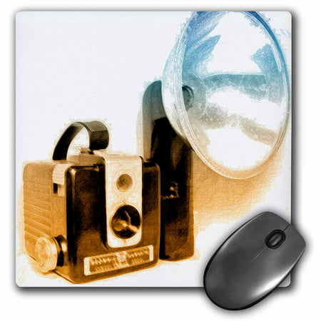 3dRose Picture of a Vintage 1950s camera with bulb flash, Mouse Pad, 8 by 8 inches
