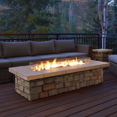 Real Flame Sedona Rectangle Propane Gas Fire Table With Optional Tank Cover Pit 66 In