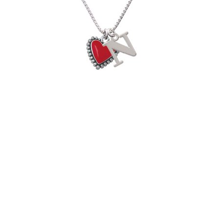 Silvertone Red Heart with Beaded Border - N - Initial Necklace