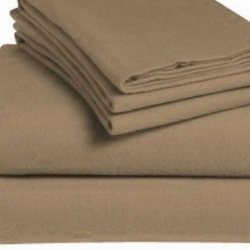 Home Classics Flannel Sheet Set Solid Tan Full Bed Sheets Bedding