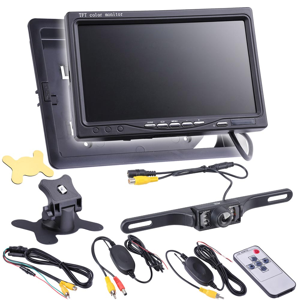"Yescom 7"" 16:9/4:3 TFT LCD Car Rear View Monitor Wireless Backup Camera with Night Vision Waterproof IP68 Set"