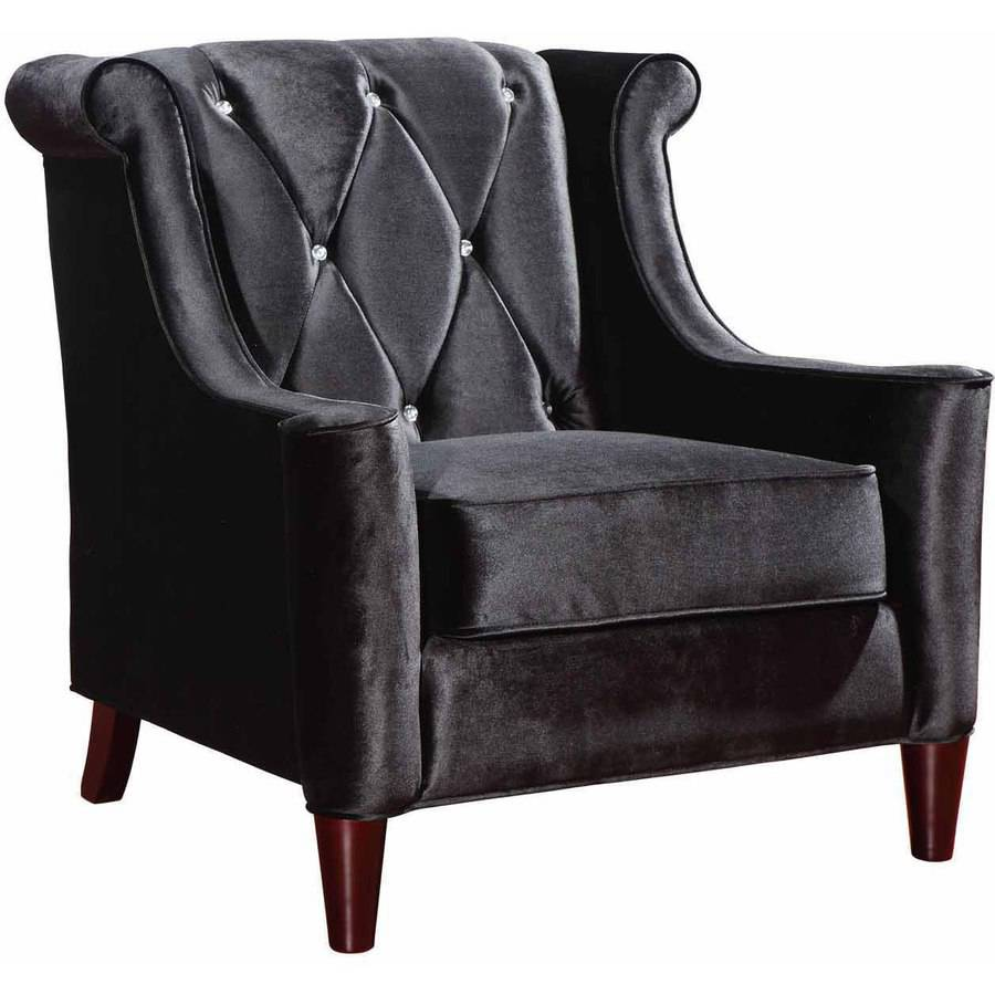Armen Living Barrister Chair, Black Velvet with Crystal Buttons