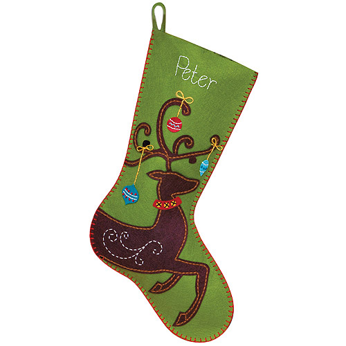 "Dimensions ""Ornate Deer Stocking"" Felt Applique Kit, 19"" Long"