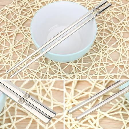 WALFRONT Solid Flat Stainless Steel Korean Chopsticks Set Tableware Dinnerware Gift Chopsticks Set,Solid Chopsticks - image 8 of 10