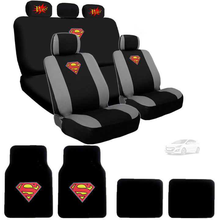 Ultimate Superman Car Seat Covers and Carpet Floor Mats Bundled with Classic POW Logo Headrest Covers Gift Set Shipping Included
