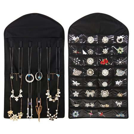 - Hanging Jewelry Organizer With 32 Pockets 18 Hook Non-woven Fabric