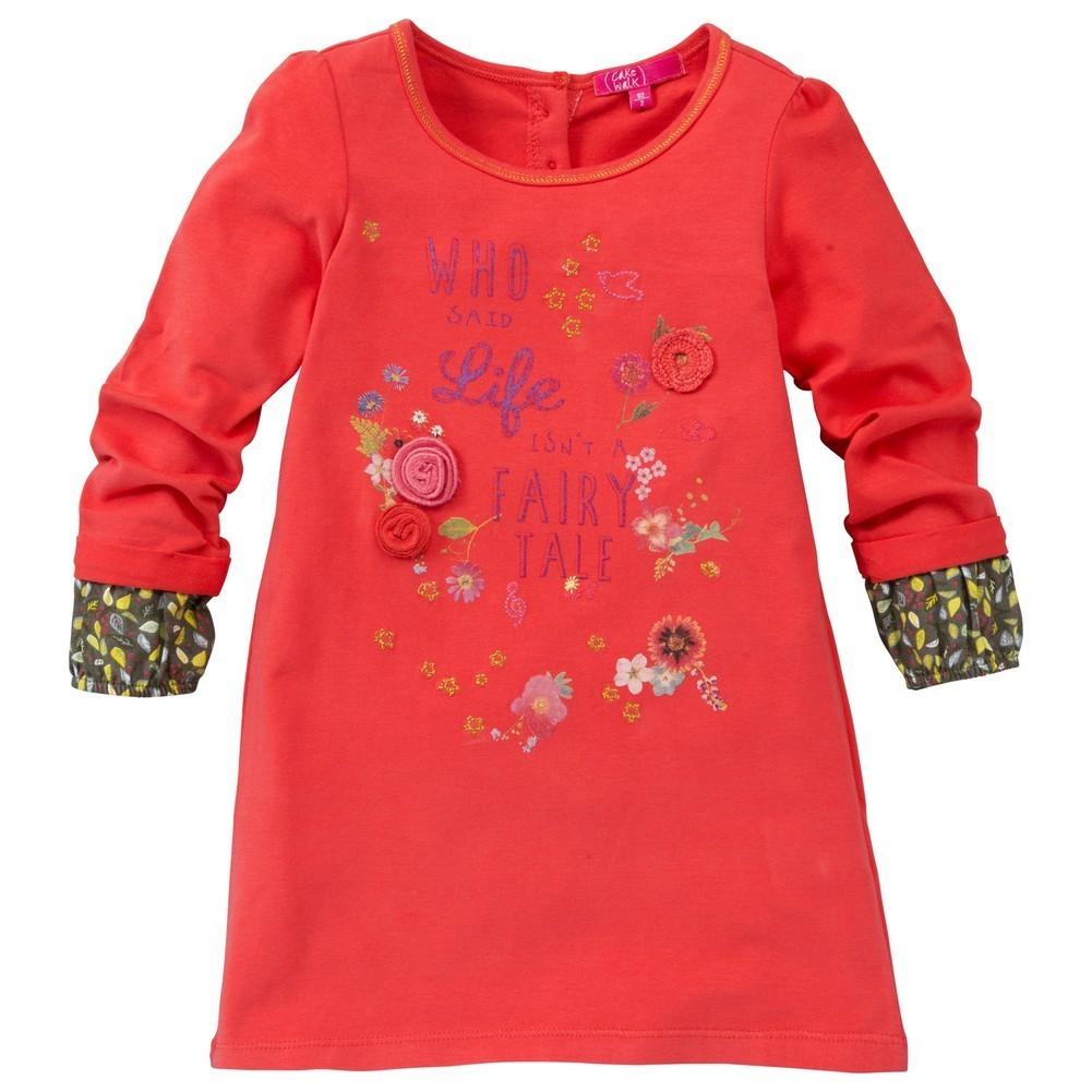 CakeWalk Little Girls Red Kiris Long Sleeve Dress 2Y