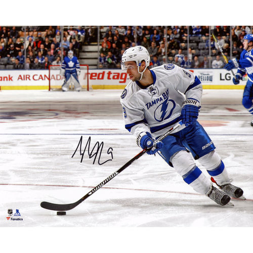 "Tyler Johnson Tampa Bay Lightning Autographed 8"" x 10"" White Jersey Skating Photograph No Size by Fanatics Authentic"