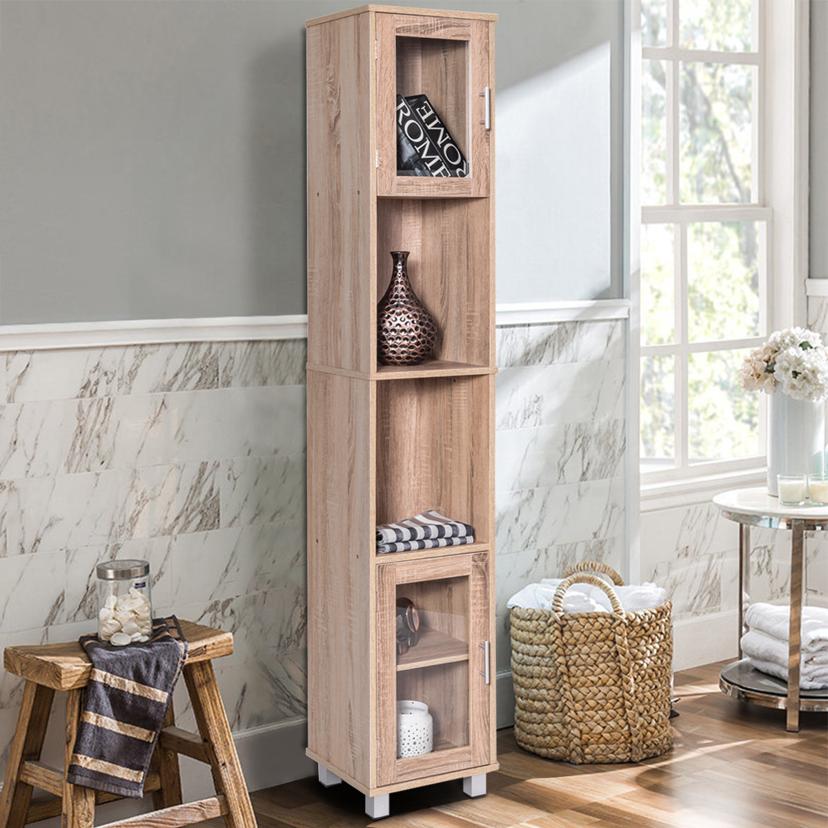 Costway 71u0027u0027 Tall Bathroom Linen Tower Cabinet Shelf Organizer Storage Wood