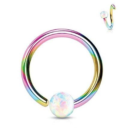 BodyJ4You Nose Ring Hoop Tragus Helix Earring Opal Stone Rainbow Stainless Steel 16G Piercing