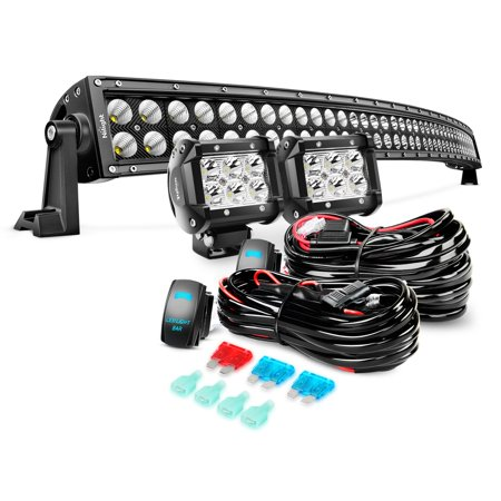 Nilight 54 Inch 312 W Black Curved Work Light Bar Spot Flood Combo LED Light Bar & 2PCS 4Inch 18W Spot LED Pods & Wiring Harness Kit for Rv Atv (Suv Black Machined)